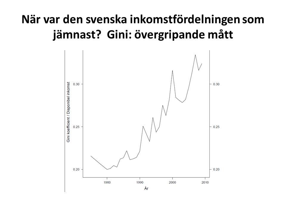 Övergripande slutsatser • Stigande inkomstskillnader över hela fördelningen sedan 1980 • Kapitalinkomsterna drivkraft • Men även 2004-2005 har Sverige och de övriga nordiska länderna jämnt fördelade inkomster (över hela fördelningen) än andra länder • Stigande relativ barnfattigdom, men ändå stigande inkomstnivåer och låga nivåer internationellt sett fram till mitten av 2000-talet