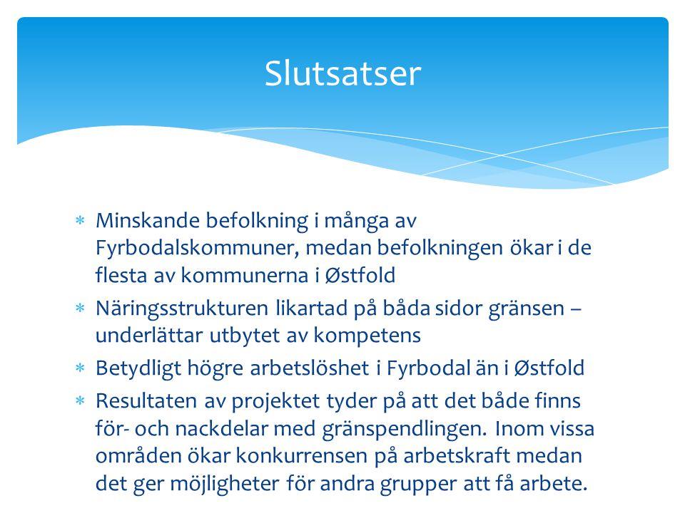  Minskande befolkning i många av Fyrbodalskommuner, medan befolkningen ökar i de flesta av kommunerna i Østfold  Näringsstrukturen likartad på båda