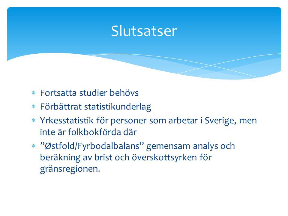 """ Fortsatta studier behövs  Förbättrat statistikunderlag  Yrkesstatistik för personer som arbetar i Sverige, men inte är folkbokförda där  """"Østfold"""