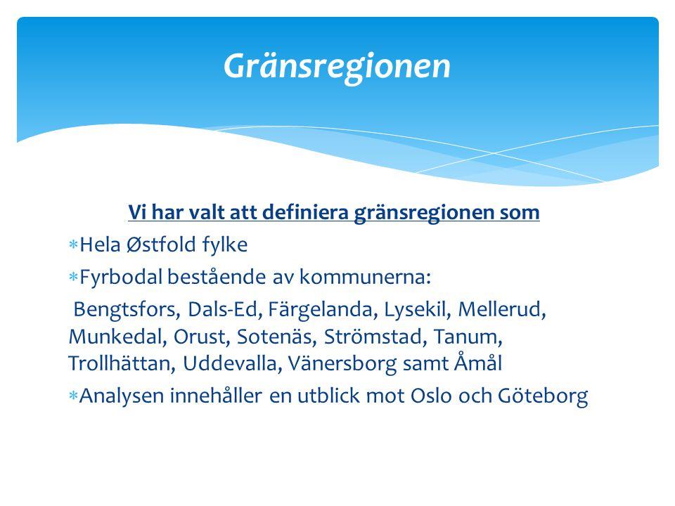 Vi har valt att definiera gränsregionen som  Hela Østfold fylke  Fyrbodal bestående av kommunerna: Bengtsfors, Dals-Ed, Färgelanda, Lysekil, Melleru
