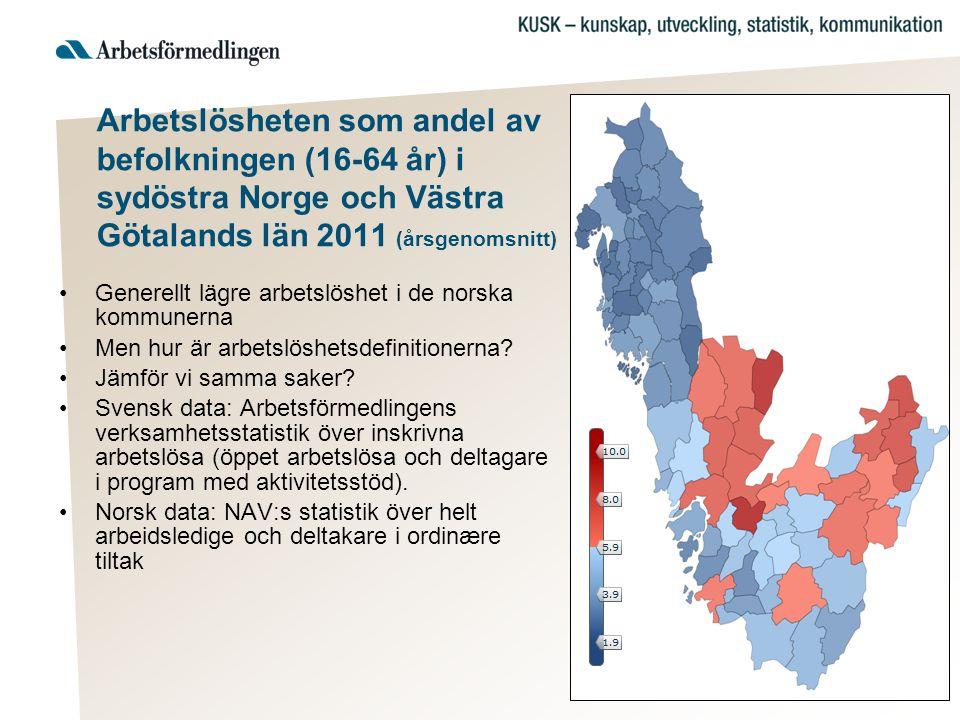 Arbetslösheten som andel av befolkningen (16-64 år) i sydöstra Norge och Västra Götalands län 2011 (årsgenomsnitt) •Generellt lägre arbetslöshet i de