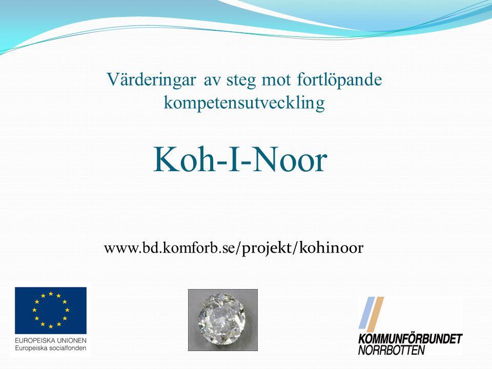 Koh-I-Noor Värderingar av steg mot fortlöpande kompetensutveckling www.bd.komforb.se /projekt/kohinoor