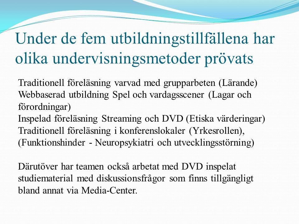 Under de fem utbildningstillfällena har olika undervisningsmetoder prövats Traditionell föreläsning varvad med grupparbeten (Lärande) Webbaserad utbil