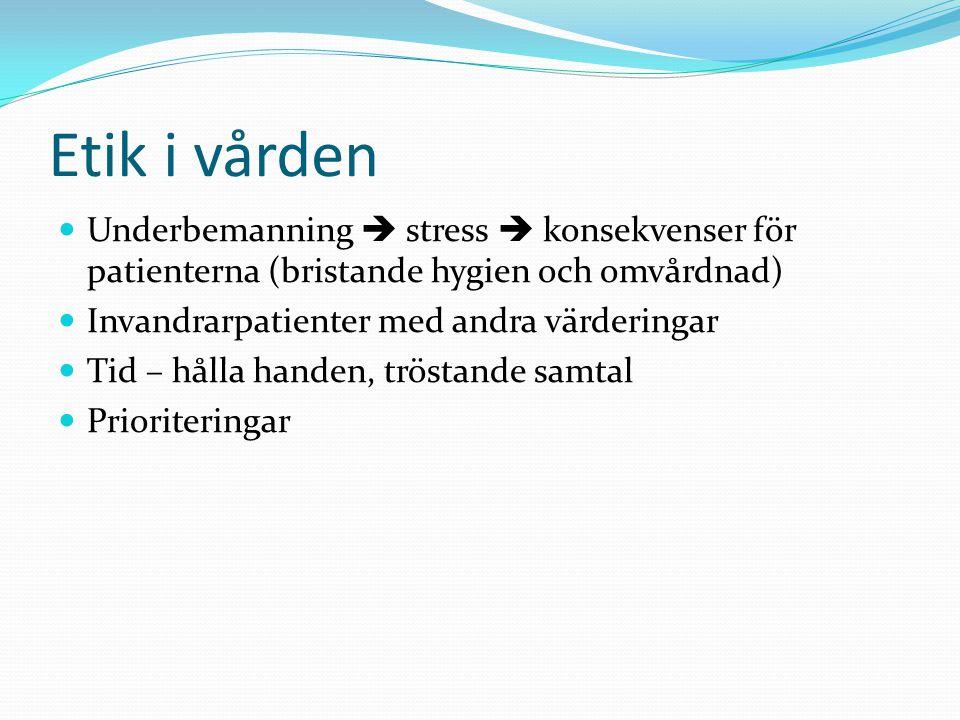 Etik i vården  Underbemanning  stress  konsekvenser för patienterna (bristande hygien och omvårdnad)  Invandrarpatienter med andra värderingar  T