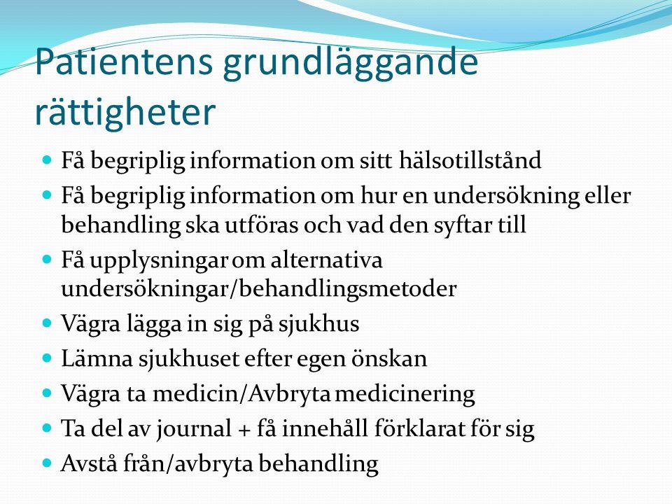 Patientens grundläggande rättigheter  Få begriplig information om sitt hälsotillstånd  Få begriplig information om hur en undersökning eller behandl