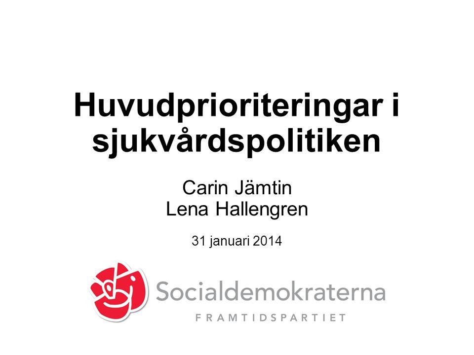 Huvudprioriteringar i sjukvårdspolitiken Carin Jämtin Lena Hallengren 31 januari 2014