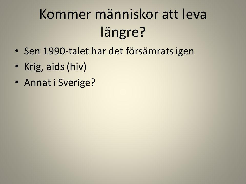 Kommer människor att leva längre? • Sen 1990-talet har det försämrats igen • Krig, aids (hiv) • Annat i Sverige?