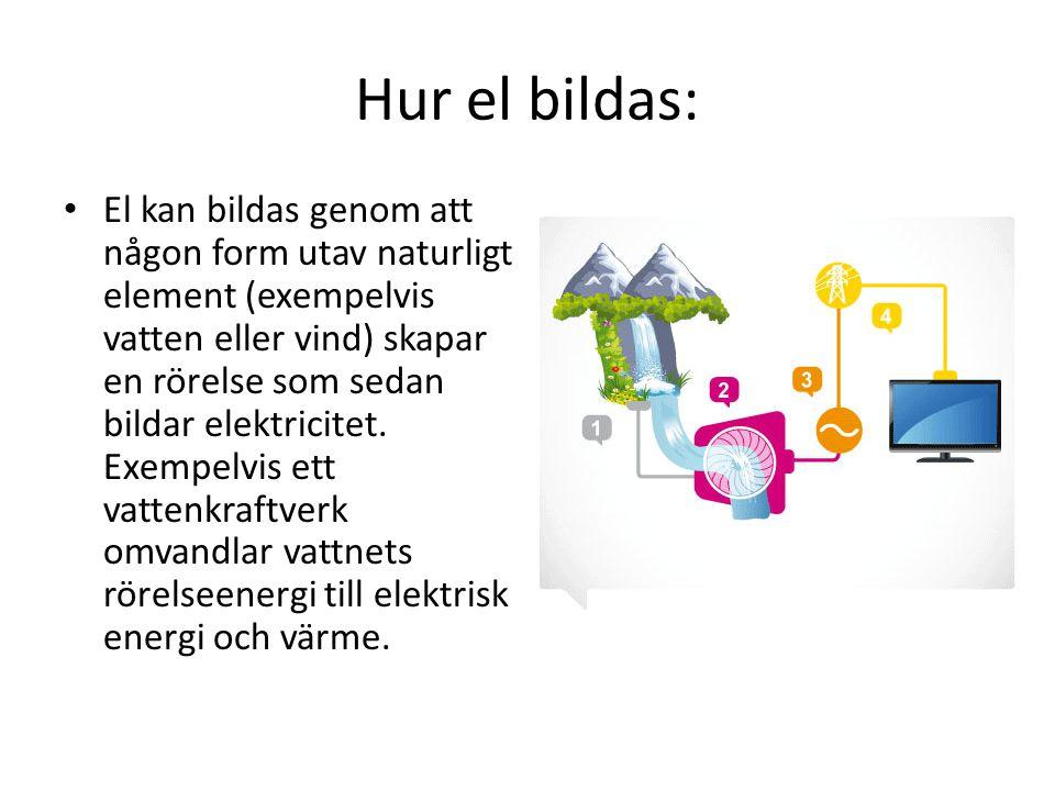 Hur el bildas: • El kan bildas genom att någon form utav naturligt element (exempelvis vatten eller vind) skapar en rörelse som sedan bildar elektrici