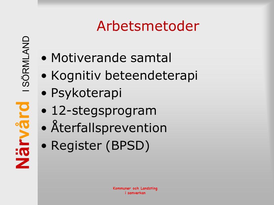 När vård I SÖRMLAND Kommuner och Landsting i samverkan Arbetsmetoder •Motiverande samtal •Kognitiv beteendeterapi •Psykoterapi •12-stegsprogram •Återf