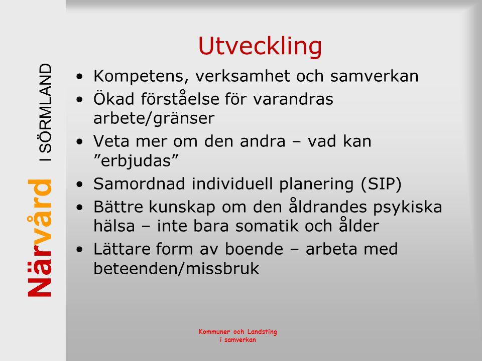 När vård I SÖRMLAND Kommuner och Landsting i samverkan Utveckling •Kompetens, verksamhet och samverkan •Ökad förståelse för varandras arbete/gränser •