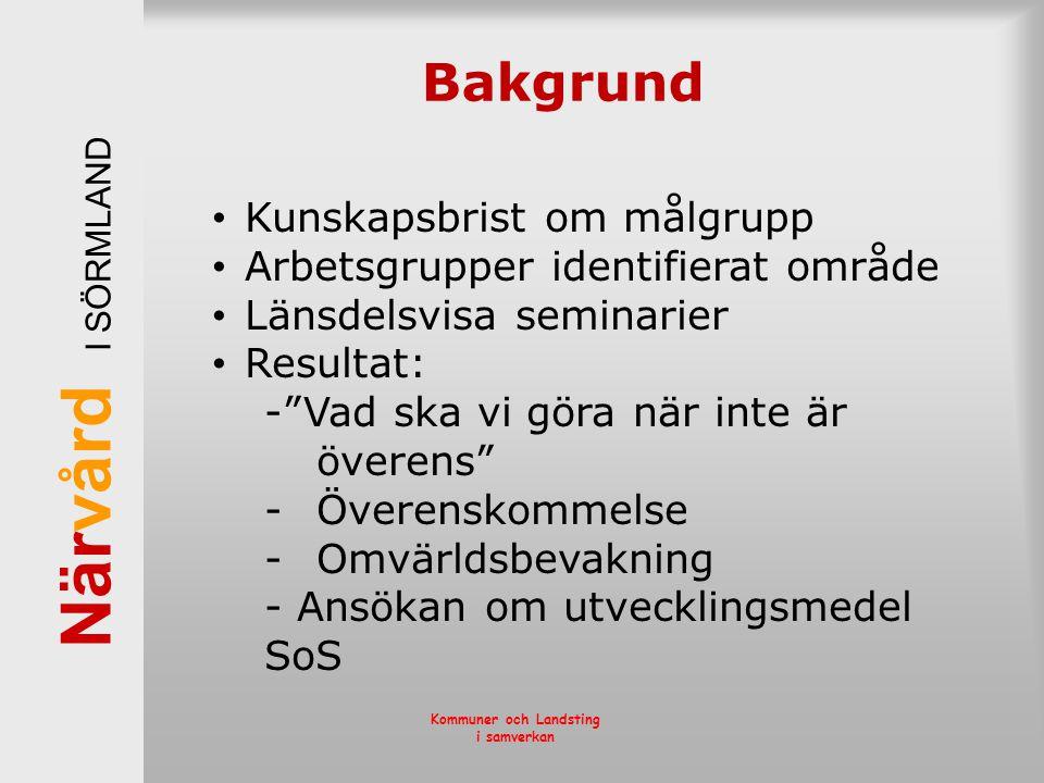 När vård I SÖRMLAND Kommuner och Landsting i samverkan Bakgrund • Kunskapsbrist om målgrupp • Arbetsgrupper identifierat område • Länsdelsvisa seminar