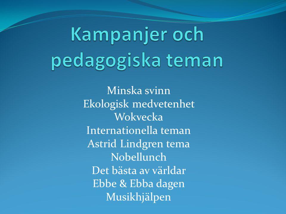 Minska svinn Ekologisk medvetenhet Wokvecka Internationella teman Astrid Lindgren tema Nobellunch Det bästa av världar Ebbe & Ebba dagen Musikhjälpen