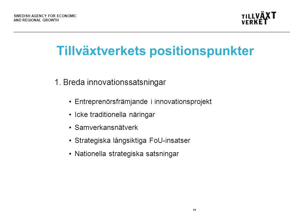 SWEDISH AGENCY FOR ECONOMIC AND REGIONAL GROWTH 11 Tillväxtverkets positionspunkter 1.