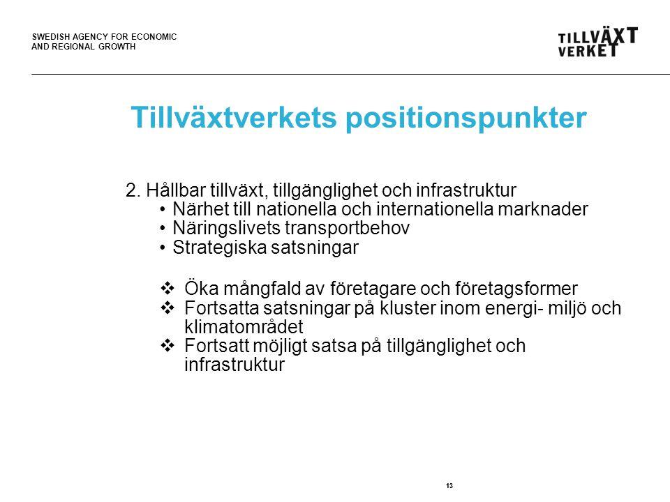SWEDISH AGENCY FOR ECONOMIC AND REGIONAL GROWTH 13 Tillväxtverkets positionspunkter 2.