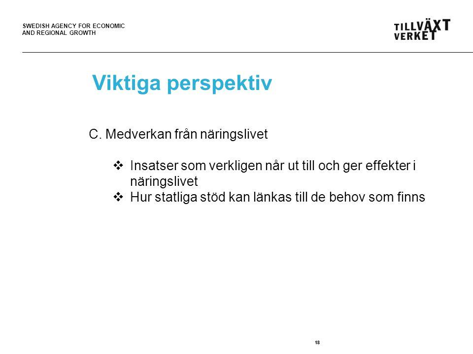 SWEDISH AGENCY FOR ECONOMIC AND REGIONAL GROWTH 18 Viktiga perspektiv C. Medverkan från näringslivet  Insatser som verkligen når ut till och ger effe