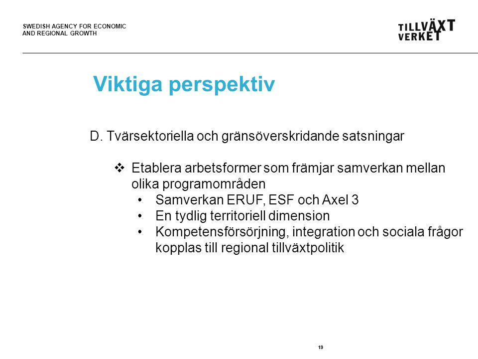 SWEDISH AGENCY FOR ECONOMIC AND REGIONAL GROWTH 19 Viktiga perspektiv D. Tvärsektoriella och gränsöverskridande satsningar  Etablera arbetsformer som