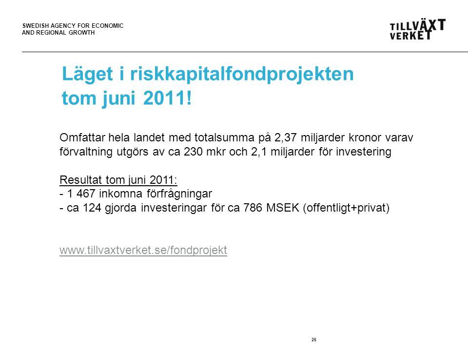 SWEDISH AGENCY FOR ECONOMIC AND REGIONAL GROWTH 26 Läget i riskkapitalfondprojekten tom juni 2011.