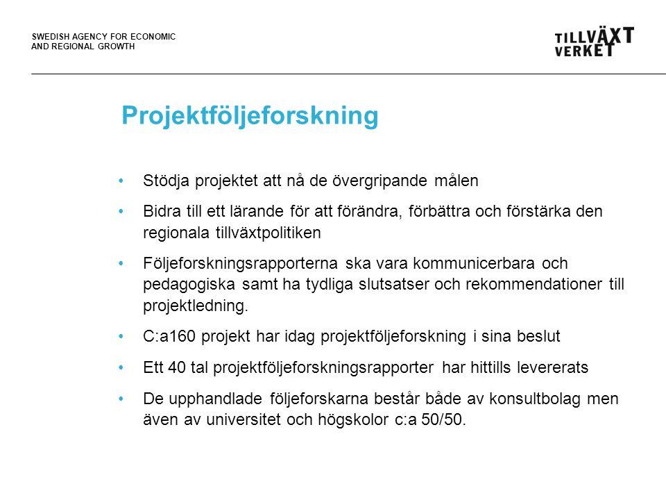 SWEDISH AGENCY FOR ECONOMIC AND REGIONAL GROWTH Projektföljeforskning •Stödja projektet att nå de övergripande målen •Bidra till ett lärande för att förändra, förbättra och förstärka den regionala tillväxtpolitiken •Följeforskningsrapporterna ska vara kommunicerbara och pedagogiska samt ha tydliga slutsatser och rekommendationer till projektledning.