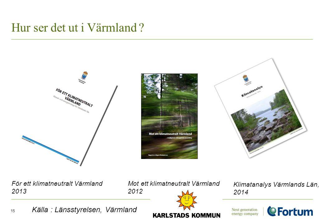 Hur ser det ut i Värmland ? 15 För ett klimatneutralt Värmland 2013 Mot ett klimatneutralt Värmland 2012 Klimatanalys Värmlands Län, 2014 Källa : Läns