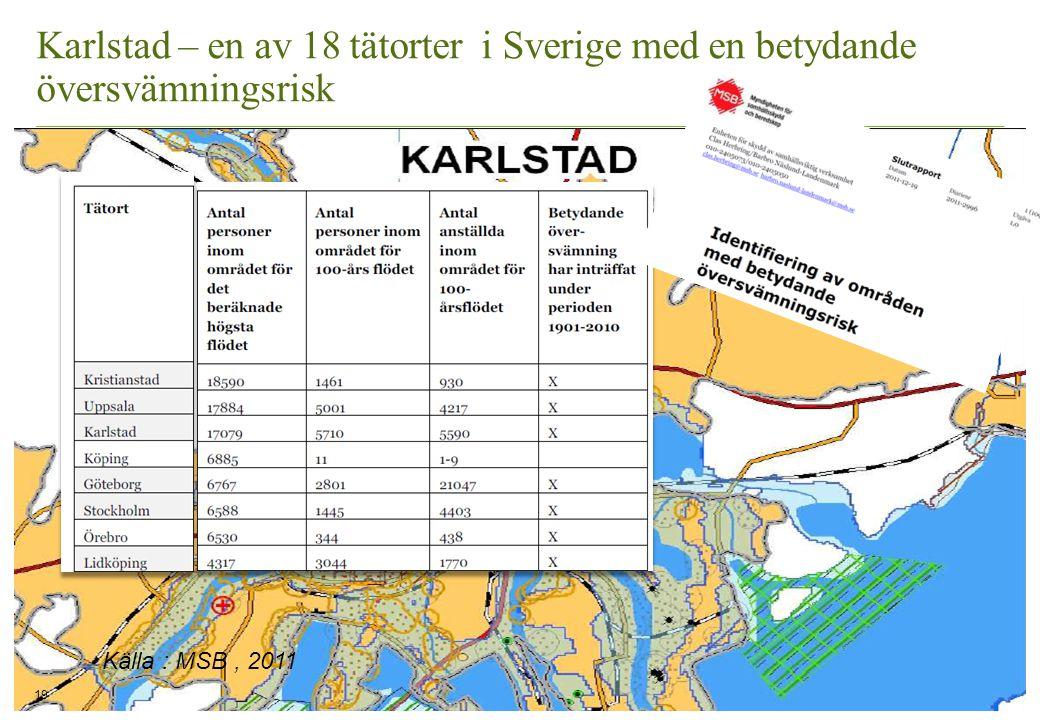 Karlstad – en av 18 tätorter i Sverige med en betydande översvämningsrisk 19 Källa : MSB, 2011
