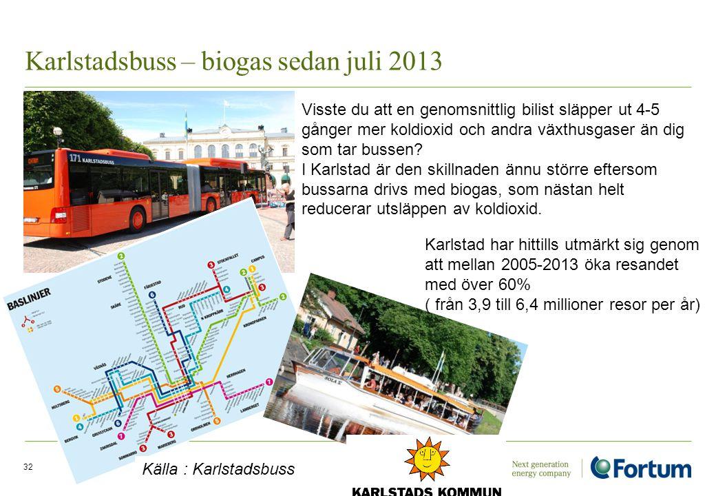Karlstadsbuss – biogas sedan juli 2013 Electricity Solutions and Distribution /32 Visste du att en genomsnittlig bilist släpper ut 4-5 gånger mer kold