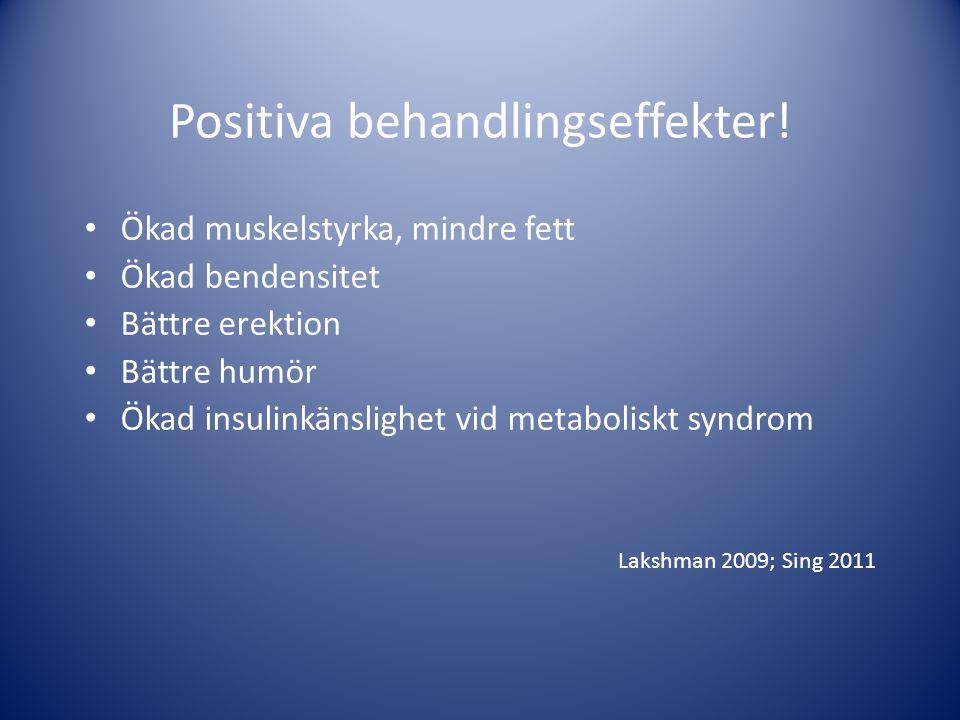 Positiva behandlingseffekter! • Ökad muskelstyrka, mindre fett • Ökad bendensitet • Bättre erektion • Bättre humör • Ökad insulinkänslighet vid metabo