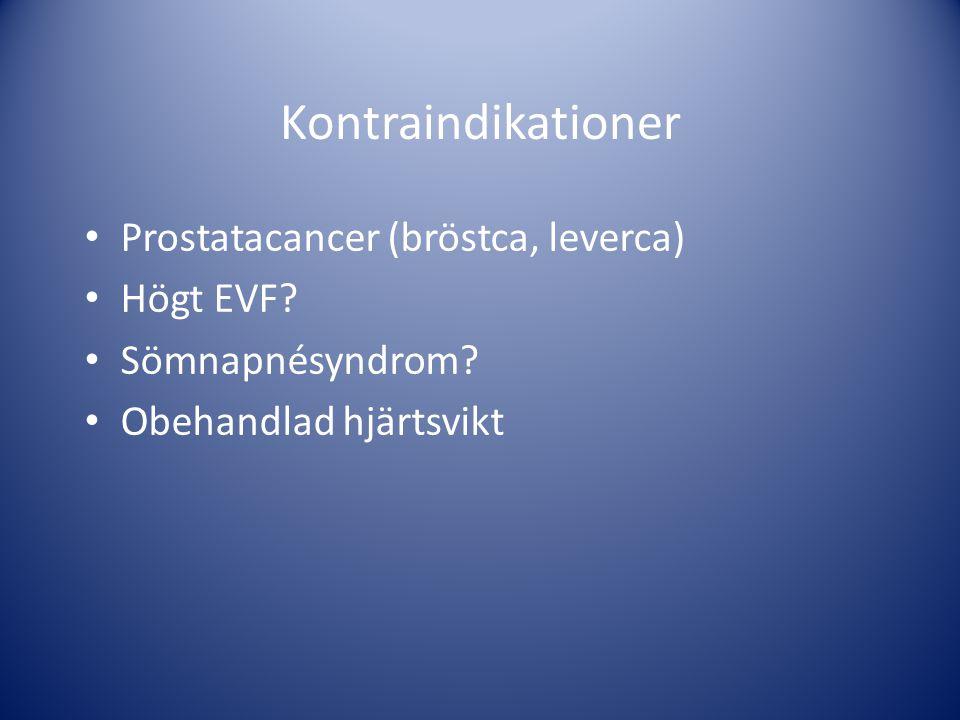 Kontraindikationer • Prostatacancer (bröstca, leverca) • Högt EVF? • Sömnapnésyndrom? • Obehandlad hjärtsvikt