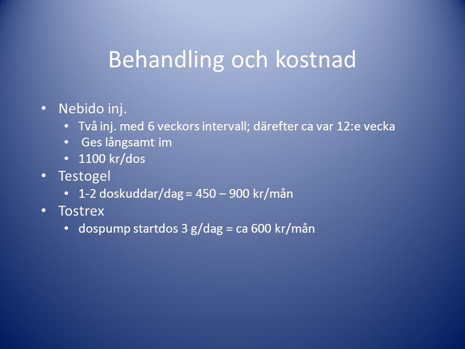Behandling och kostnad • Nebido inj. • Två inj. med 6 veckors intervall; därefter ca var 12:e vecka • Ges långsamt im • 1100 kr/dos • Testogel • 1-2 d