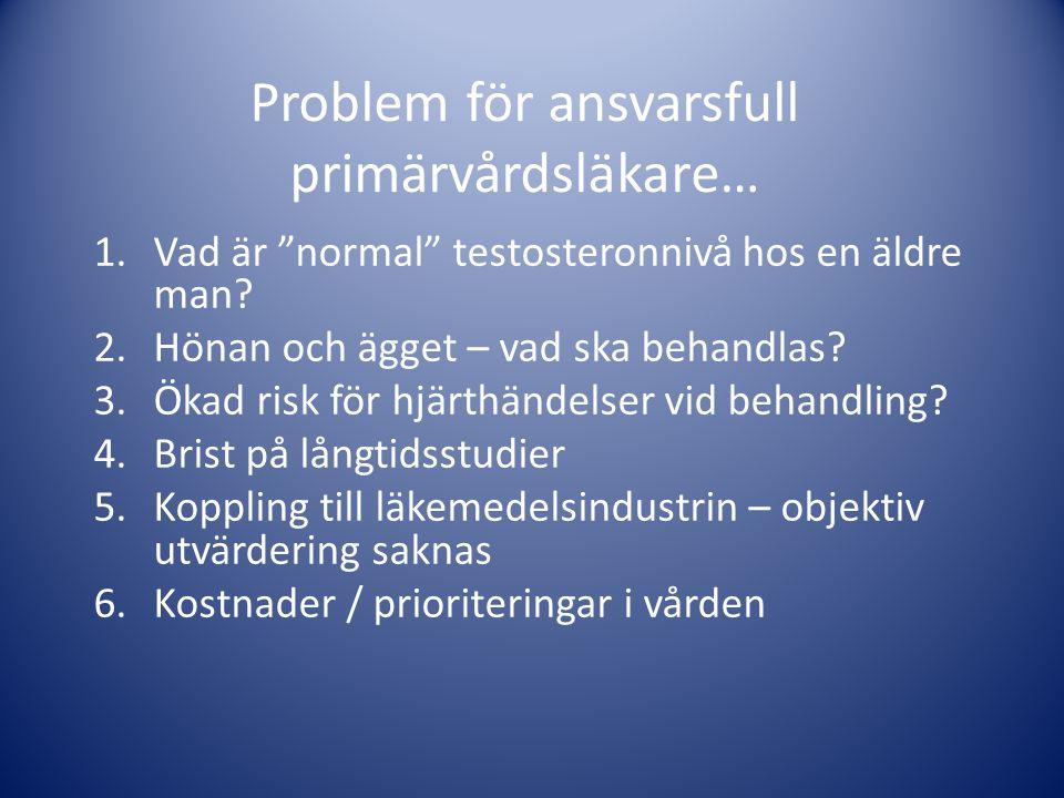 """Problem för ansvarsfull primärvårdsläkare… 1.Vad är """"normal"""" testosteronnivå hos en äldre man? 2.Hönan och ägget – vad ska behandlas? 3.Ökad risk för"""