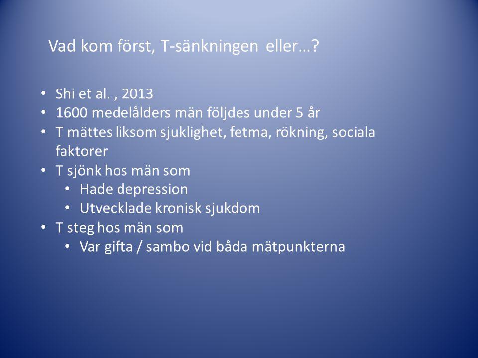 Vad kom först, T-sänkningen eller…? • Shi et al., 2013 • 1600 medelålders män följdes under 5 år • T mättes liksom sjuklighet, fetma, rökning, sociala
