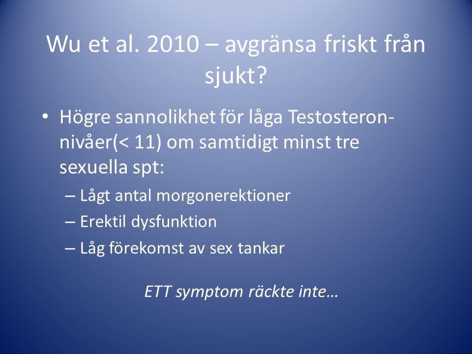 Wu et al. 2010 – avgränsa friskt från sjukt? • Högre sannolikhet för låga Testosteron- nivåer(< 11) om samtidigt minst tre sexuella spt: – Lågt antal