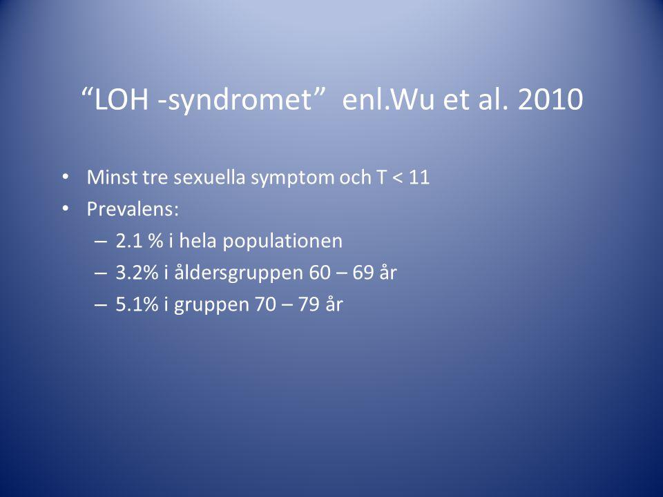 """""""LOH -syndromet"""" enl.Wu et al. 2010 • Minst tre sexuella symptom och T < 11 • Prevalens: – 2.1 % i hela populationen – 3.2% i åldersgruppen 60 – 69 år"""