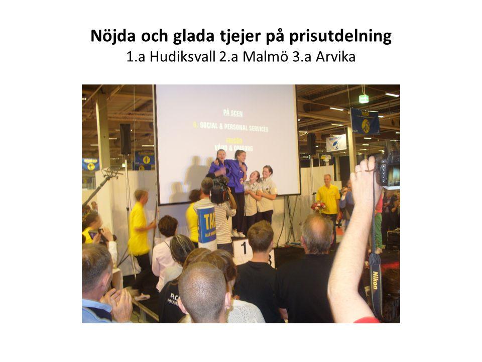 Nöjda och glada tjejer på prisutdelning 1.a Hudiksvall 2.a Malmö 3.a Arvika