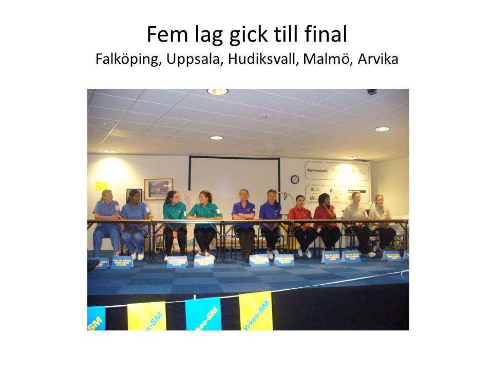 Fem lag gick till final Falköping, Uppsala, Hudiksvall, Malmö, Arvika