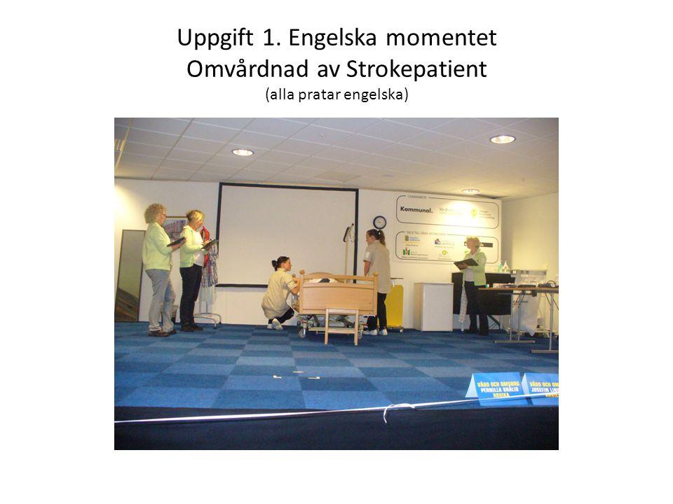 Uppgift 1. Engelska momentet Omvårdnad av Strokepatient (alla pratar engelska)