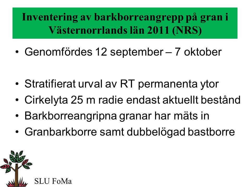 Inventering av barkborreangrepp på gran i Västernorrlands län 2011 (NRS) SLU FoMa Totalt inventerades 97 provytor i gallrings- och slutavverknings bestånd med en granandel =>3/10