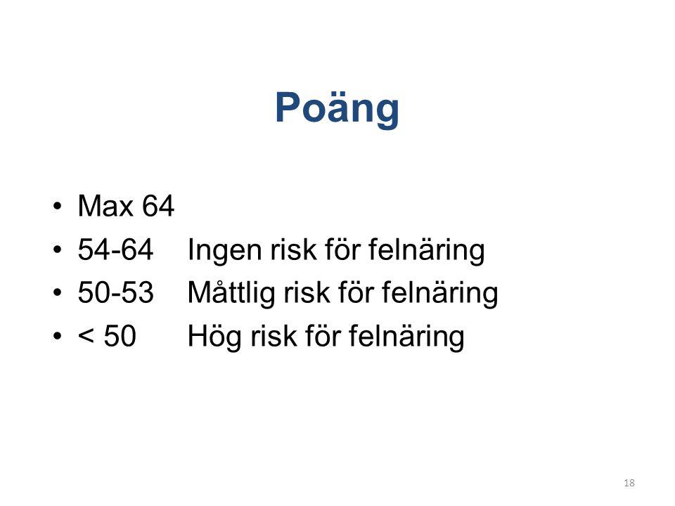 Poäng •Max 64 •54-64 Ingen risk för felnäring •50-53 Måttlig risk för felnäring •< 50Hög risk för felnäring 18