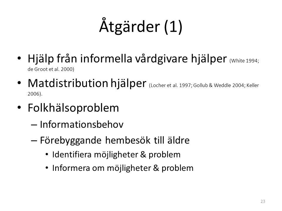 Åtgärder (1) • Hjälp från informella vårdgivare hjälper (White 1994; de Groot et al.