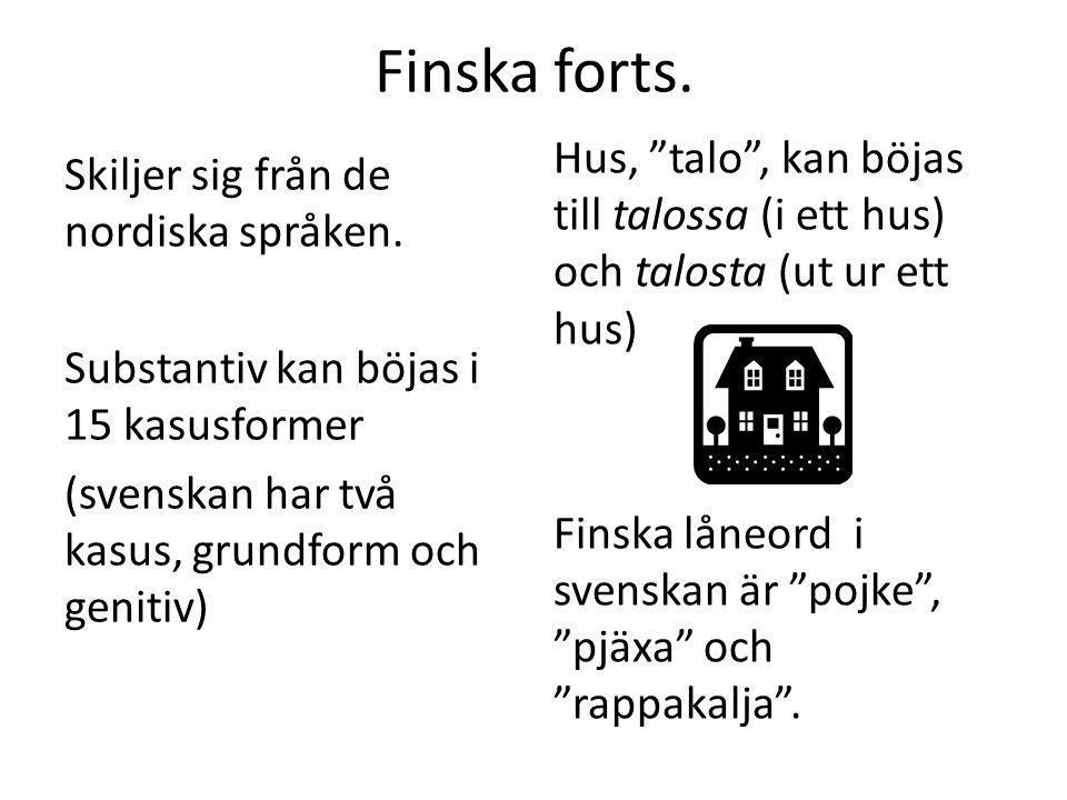 """Finska forts. Skiljer sig från de nordiska språken. Substantiv kan böjas i 15 kasusformer (svenskan har två kasus, grundform och genitiv) Hus, """"talo"""","""