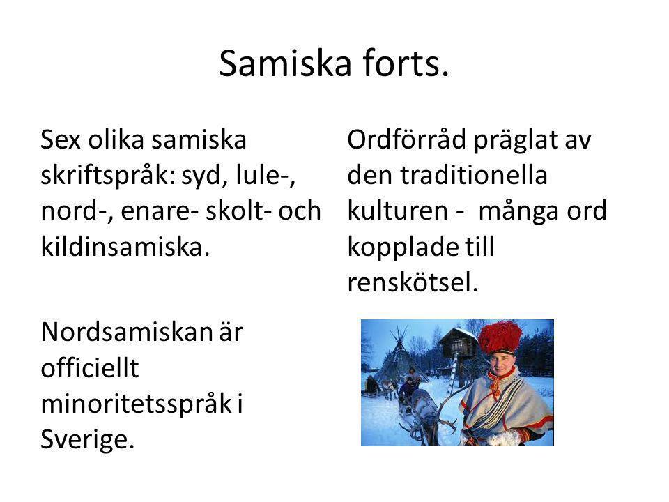 Samiska forts. Sex olika samiska skriftspråk: syd, lule-, nord-, enare- skolt- och kildinsamiska. Nordsamiskan är officiellt minoritetsspråk i Sverige