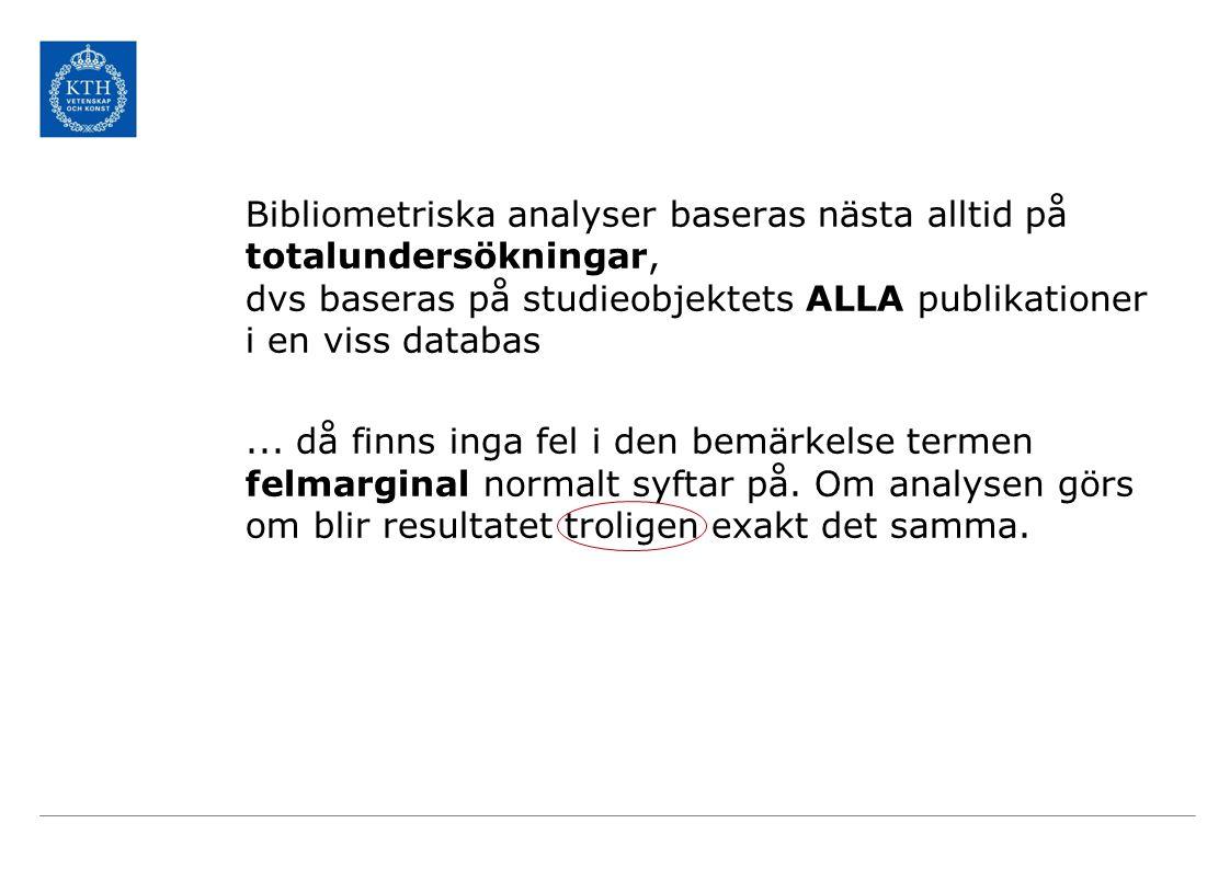 Bootstrapp-uppskattningar Origninaldata: 15 års publ för 4 svenska lärosäten (150 000 publ)