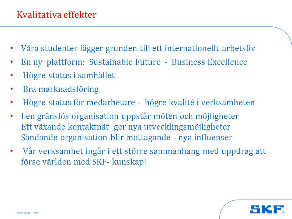 © SKF Group Kvalitativa effekter • Våra studenter lägger grunden till ett internationellt arbetsliv • En ny plattform: Sustainable Future - Business E