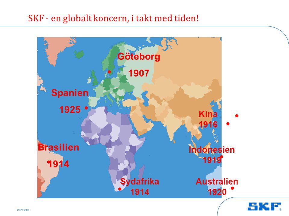 © SKF Group Göteborg 1907.. Brasilien 1914. Spanien 1925 Kina 1916.. Sydafrika 1914. Indonesien 1919.. Australien 1920 SKF - en globalt koncern, i tak