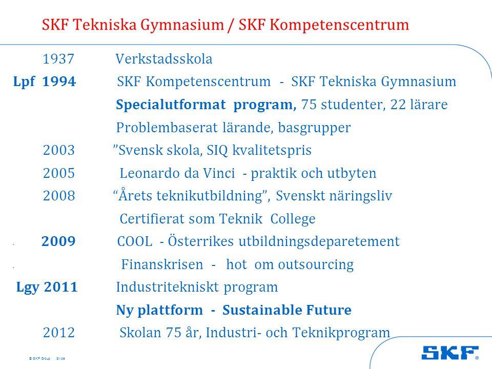 © SKF Group 1937 Verkstadsskola Lpf 1994 SKF Kompetenscentrum - SKF Tekniska Gymnasium Specialutformat program, 75 studenter, 22 lärare Problembaserat