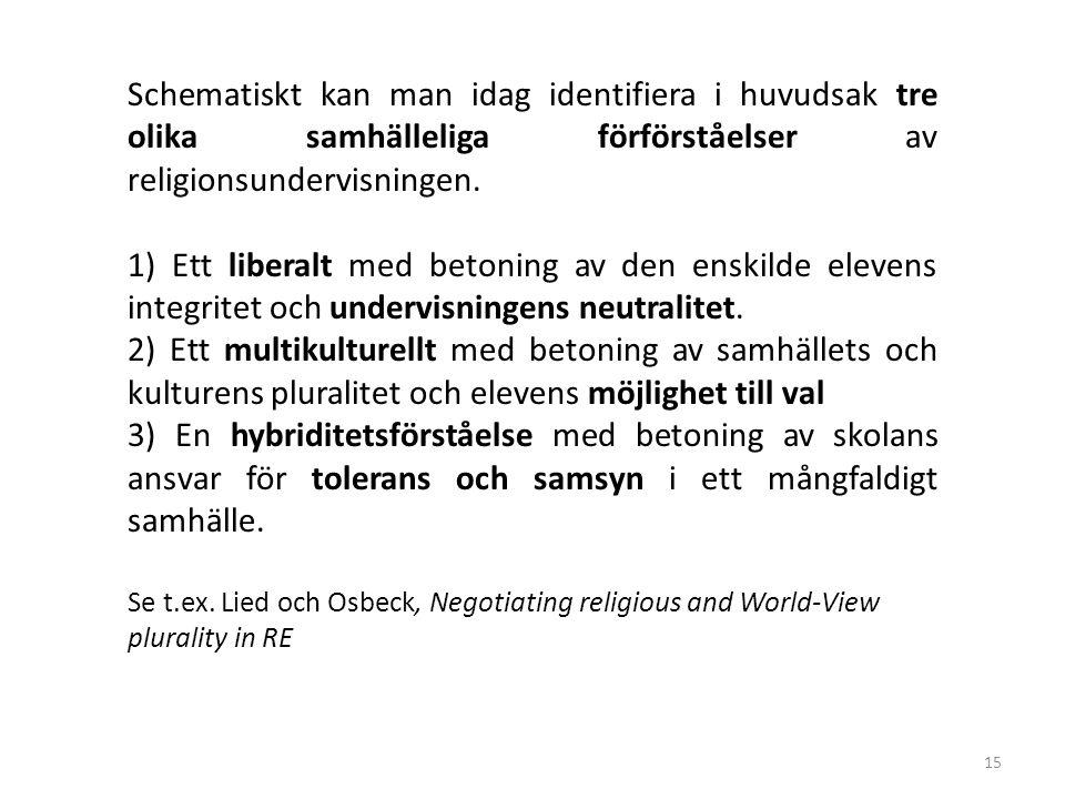 15 Schematiskt kan man idag identifiera i huvudsak tre olika samhälleliga förförståelser av religionsundervisningen. 1) Ett liberalt med betoning av d