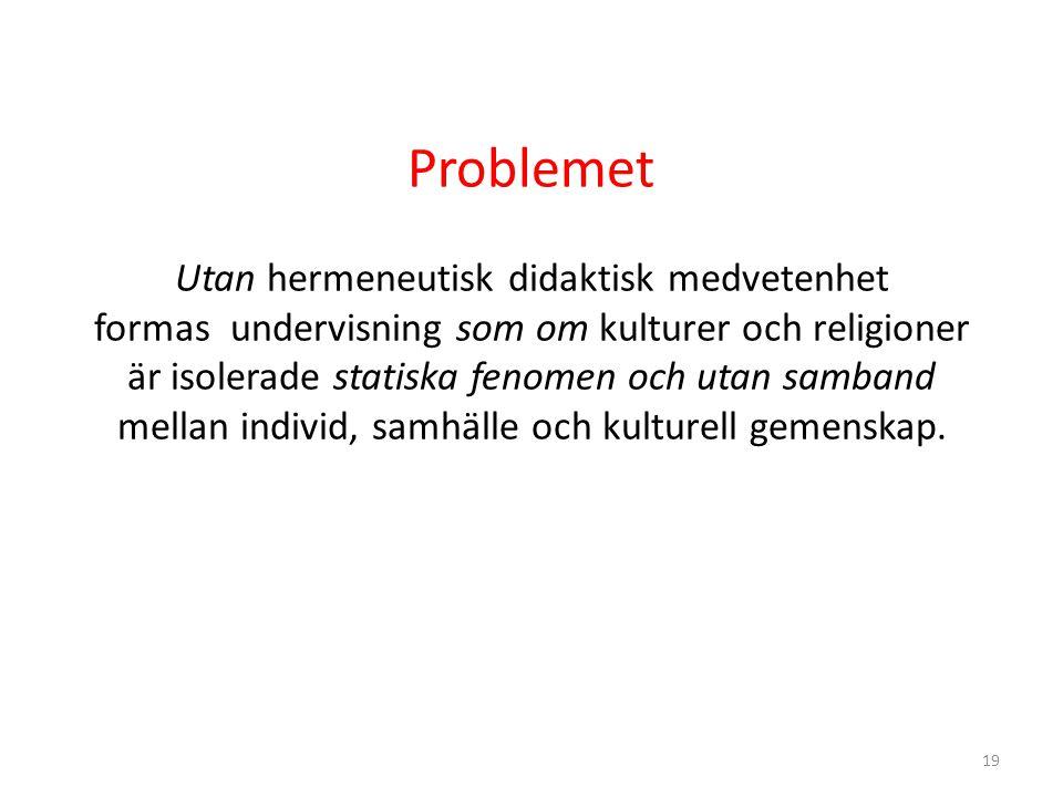 19 Problemet Utan hermeneutisk didaktisk medvetenhet formas undervisning som om kulturer och religioner är isolerade statiska fenomen och utan samband