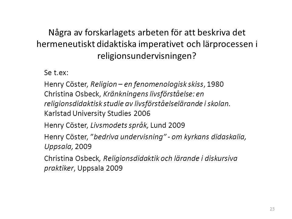 23 Några av forskarlagets arbeten för att beskriva det hermeneutiskt didaktiska imperativet och lärprocessen i religionsundervisningen.