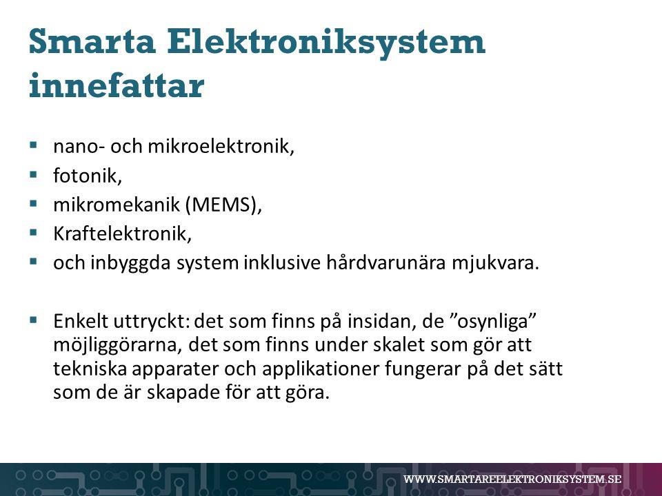 WWW.SMARTAREELEKTRONIKSYSTEM.SE Smarta Elektroniksystem innefattar  nano- och mikroelektronik,  fotonik,  mikromekanik (MEMS),  Kraftelektronik, 