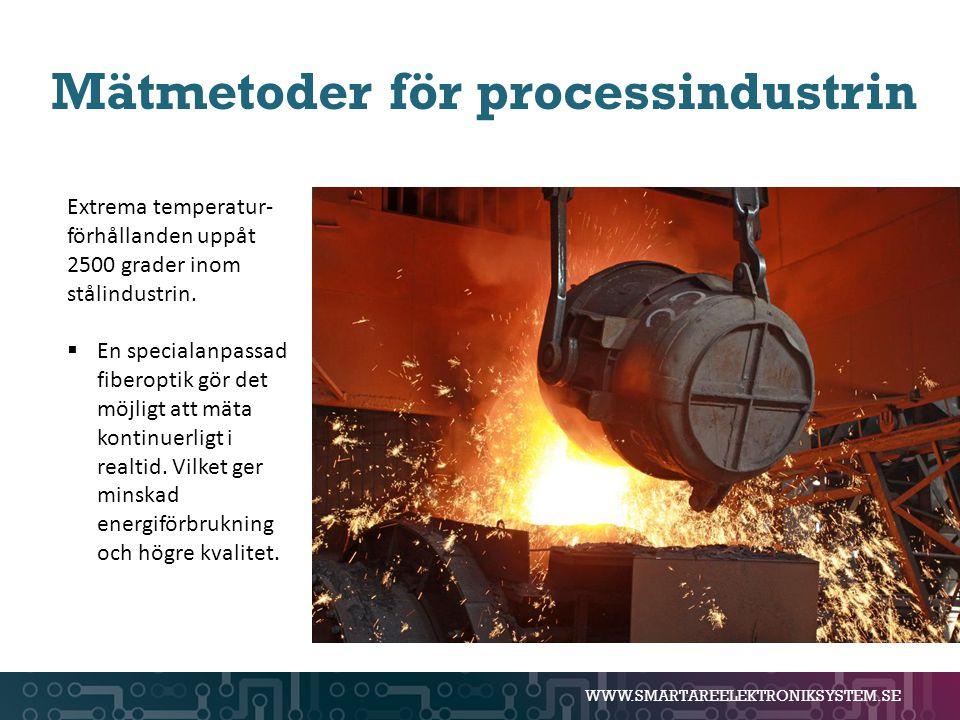 WWW.SMARTAREELEKTRONIKSYSTEM.SE Mätmetoder för processindustrin Extrema temperatur- förhållanden uppåt 2500 grader inom stålindustrin.  En specialanp