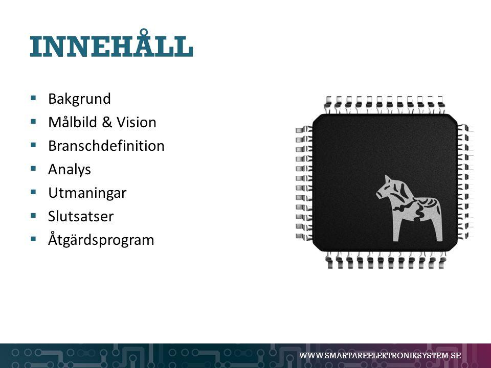 WWW.SMARTAREELEKTRONIKSYSTEM.SE INNEHÅLL  Bakgrund  Målbild & Vision  Branschdefinition  Analys  Utmaningar  Slutsatser  Åtgärdsprogram